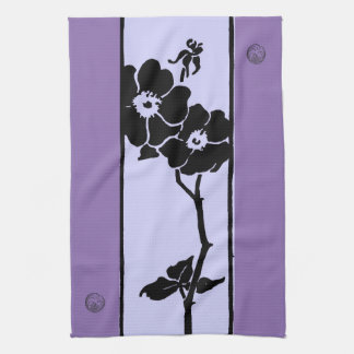 Purple Shades: Dark and Light Open Flowers Hand Towel