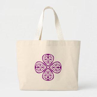 purple shamrock celtic knot canvas bag