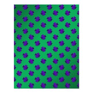 Purple shamrocks on green background flyer design