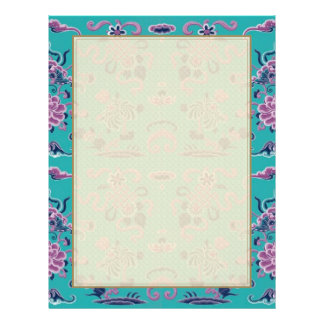Purple Shapes and Flowers on Teal 21.5 Cm X 28 Cm Flyer