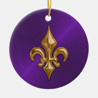 Purple Sheen and Gold Fleur de Lis Round Ceramic Decoration