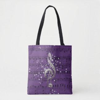 Purple Sheet Music Silver Treble Clef & Confetti Tote Bag