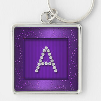 Purple Shimmer and Sparkle with Monogram Keychains