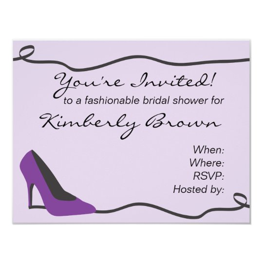 Purple Shoe Bridal Shower Invitation