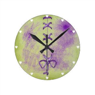 Purple Shoe Laces Round Wall Clocks
