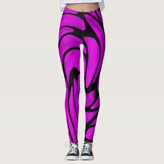 Purple Silk and Black Leather look Leggings