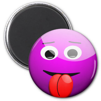 Purple Silly Smiley Face Tongue Sticking Out Magnet