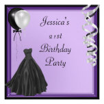 Purple Silver Black Balloons Formal 21st Birthday Personalized Announcement