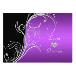Purple Silver Black Floral Swirls Reception Only Personalized Announcements