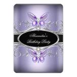 Purple Silver Black Jewel Butterfly Birthday Party 13 Cm X 18 Cm Invitation Card