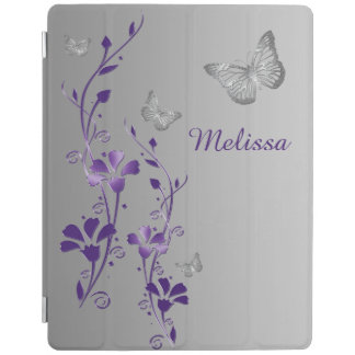 Purple Silver Butterflies, Floral iPad 2/3/4 Cover