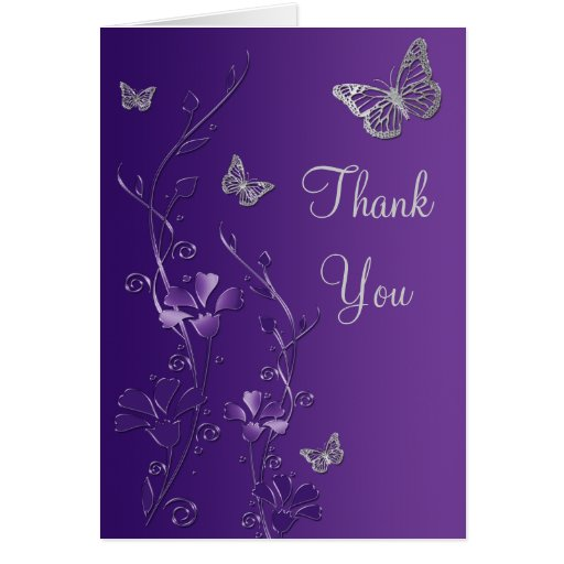 Purple Silver Butterfly Floral Thank You Note Card Greeting Cards