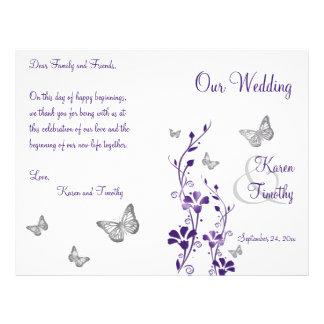 Purple Silver Butterfly Floral Wedding Program Flyer