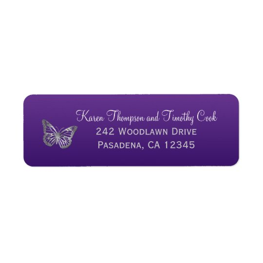Purple, Silver Butterfly Return Address Label