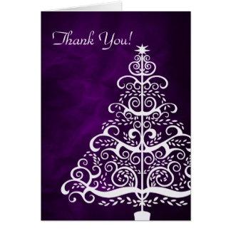 Purple Silver Christmas Tree Thank You Card