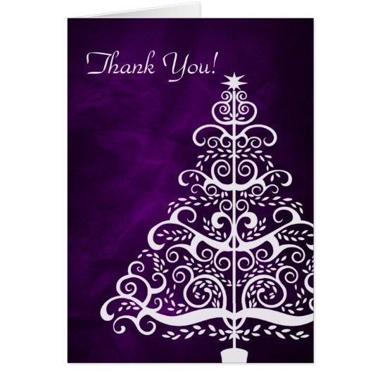 Purple Silver Christmas Tree Thank You Card