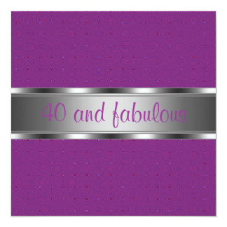 Purple Silver Fabulous 40th Birthday Party Card