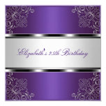 Purple Silver Floral 25th Birthday Party Event 13 Cm X 13 Cm Square Invitation Card