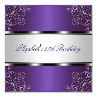 Purple Silver Floral 25th Birthday Party Event 5.25x5.25 Square Paper Invitation Card
