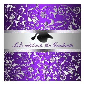 Purple Silver Floral Pattern Black Graduation Hat 13 Cm X 13 Cm Square Invitation Card