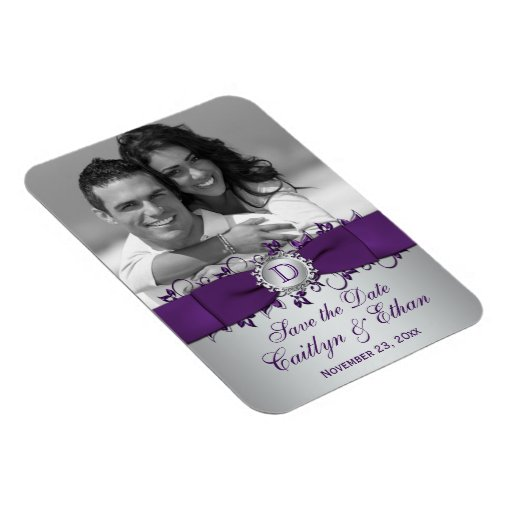 Purple, Silver Floral Save the Date Photo Magnet
