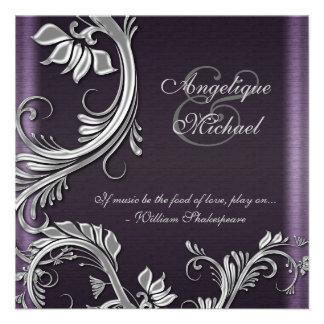 Purple silver floral wedding engagement announcements