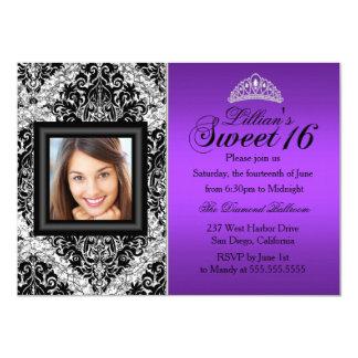 Purple Silver Glitter Damask Photo Sweet 16 Card