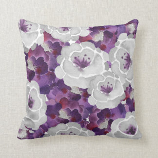 Purple Silver Gray Floral square accent pillow Throw Cushion