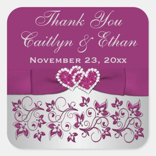 Purple, Silver Gray Floral Wedding Favor Sticker