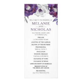 Purple Silver Gray Floral Wedding Program,  3953 Rack Card