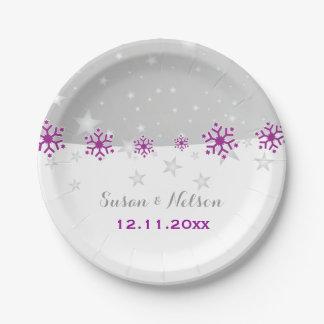 Purple, silver grey snowflake modern wedding paper plate