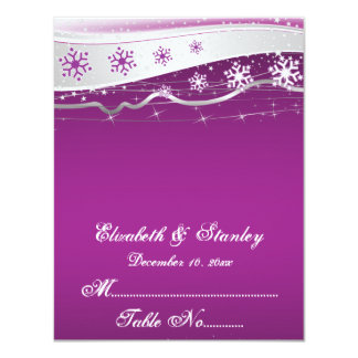 Purple, silver grey snowflake wedding place card