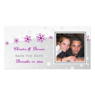 Purple silver grey snowflake wedding Save the Date Customized Photo Card