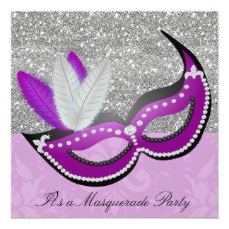 Purple & Silver Masquerade Party Venetian Mask Card