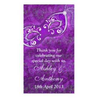 Purple Silver Masquerade Wedding Favour Tags Double-Sided Standard Business Cards (Pack Of 100)