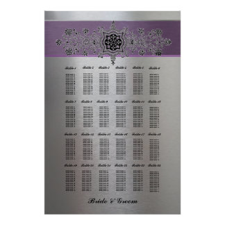Purple Silver Metallic Large Seating Chart