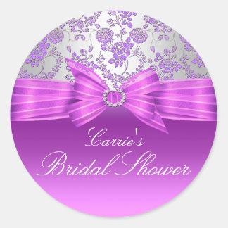 Purple & Silver Rose Bridal Shower Sticker