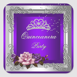 Purple Silver Roses Quinceanera 15th Birthday Square Stickers