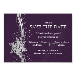 purple Silver Snowflakes Winter  save the date Magnetic Invitations