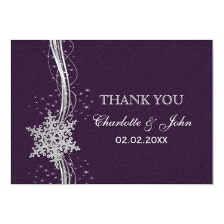 purple Silver Snowflakes Winter  wedding Thank You 13 Cm X 18 Cm Invitation Card