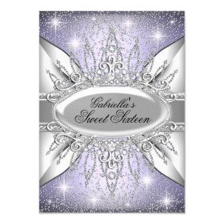 Purple & Silver Sparkle Diamond Sweet 16 Invite