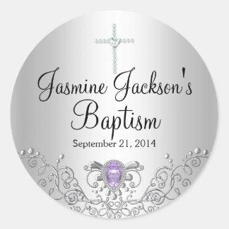 Purple Silver Sparkle Jewel Baptism Sticker