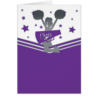 Purple Silver Stars Cheer-leading Thank You Card