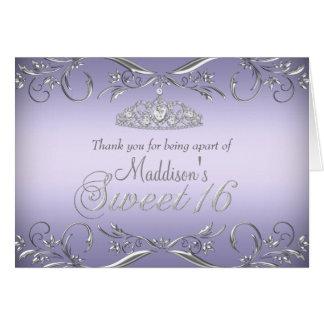Purple & Silver Tiara Sweet 16 Thank You Card