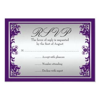 Purple Silver Vintage Flourish Scroll Wedding RSVP 9 Cm X 13 Cm Invitation Card