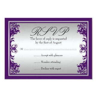 Purple Silver Vintage Flourish Scroll Wedding RSVP Card