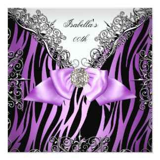 Purple Silver White Black Zebra Birthday Party Card