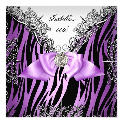Purple Silver White Black Zebra Birthday Party Personalized Invite