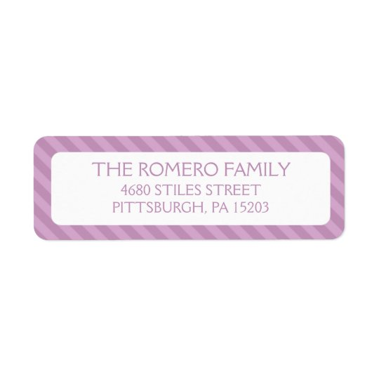 Purple Simple Stripes Custom Personalised Return Address Label