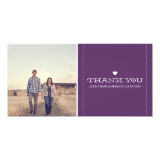 Purple Simply Chic Photo Wedding Thank You Cards Customised Photo Card